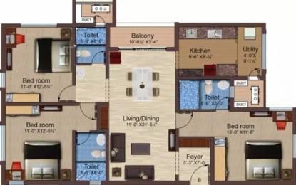 1528 sqft, 3 bhk Apartment in Baashyaam Pinnacle Crest Sholinganallur, Chennai at Rs. 30000