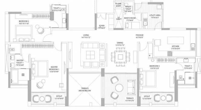 3040 sqft, 3 bhk Apartment in ABIL Clover Verde Kalyani Nagar, Pune at Rs. 4.5000 Cr
