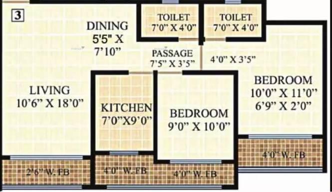 1050 sqft, 2 bhk Apartment in Neminath Heights Mira Road East, Mumbai at Rs. 17000