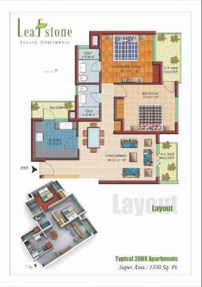 1350 sqft, 2 bhk Apartment in Builder leafstone apartments NAC Zirakpur, Chandigarh at Rs. 40.8300 Lacs