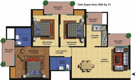 1480 sqft, 3 bhk Apartment in The Antriksh Golf View I Sector 78, Noida at Rs. 65.4500 Lacs