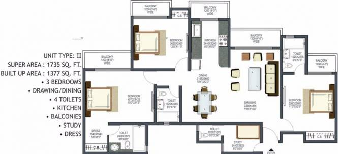 1735 sqft, 3 bhk Apartment in Prateek Wisteria Sector 77, Noida at Rs. 92.0000 Lacs