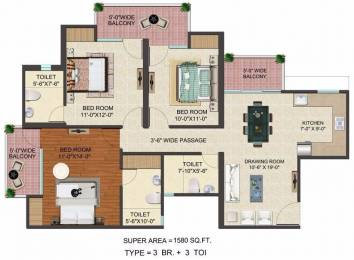 1580 sqft, 3 bhk Apartment in JM Florence Techzone 4, Greater Noida at Rs. 51.4000 Lacs