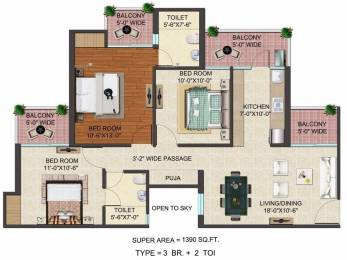 1390 sqft, 3 bhk Apartment in JM Florence Techzone 4, Greater Noida at Rs. 42.4700 Lacs