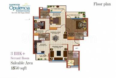 1850 sqft, 3 bhk Apartment in Sandwoods Sandwoods Opulencia Sector 110 Mohali, Mohali at Rs. 60.9954 Lacs