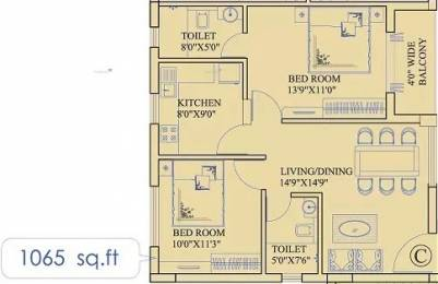 1065 sqft, 2 bhk Apartment in Ruchi Active Greens Tangra, Kolkata at Rs. 16000