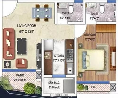 655 sqft, 1 bhk Apartment in Arkade Art Mira Road East, Mumbai at Rs. 13000