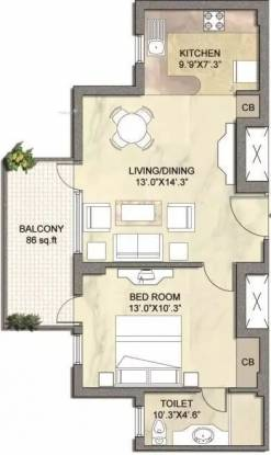 747 sqft, 1 bhk Apartment in Vipul Gardens Sector 1 Dharuhera, Dharuhera at Rs. 21.5000 Lacs
