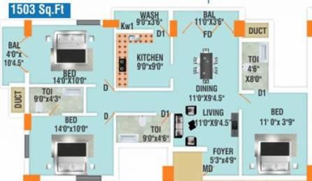 1549 sqft, 3 bhk Apartment in Builder pronto casa K K Nagar, Chennai at Rs. 1.9982 Cr