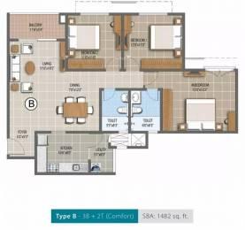 1482 sqft, 3 bhk Apartment in Purva Palm Beach Narayanapura on Hennur Main Road, Bangalore at Rs. 83.7330 Lacs