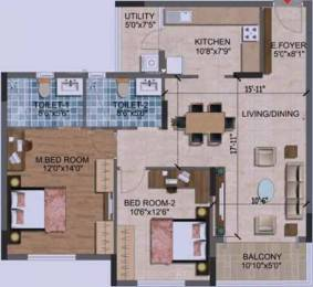 1202 sqft, 2 bhk Apartment in Purva Westend Begur, Bangalore at Rs. 81.6185 Lacs