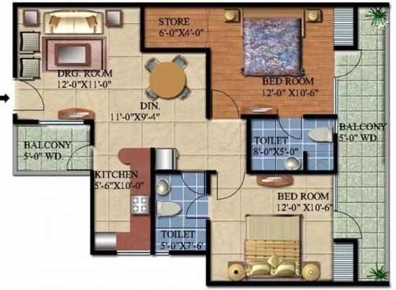 1144 sqft, 2 bhk Apartment in Ascent Savy Ville de Raj Nagar Extension, Ghaziabad at Rs. 32.0000 Lacs