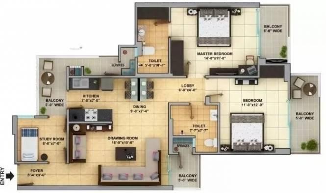 1355 sqft, 2 bhk Apartment in Gaursons Gaur Cascades Raj Nagar Extension, Ghaziabad at Rs. 8500