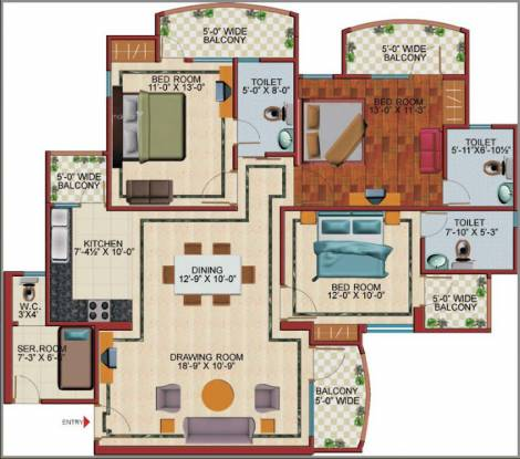 1590 sqft, 3 bhk Apartment in SVP Gulmohar Garden Phase 2 Raj Nagar Extension, Ghaziabad at Rs. 10000