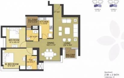 1200 sqft, 2 bhk Apartment in Pioneer Pioneer Park PH 1 Sector 61, Gurgaon at Rs. 35000