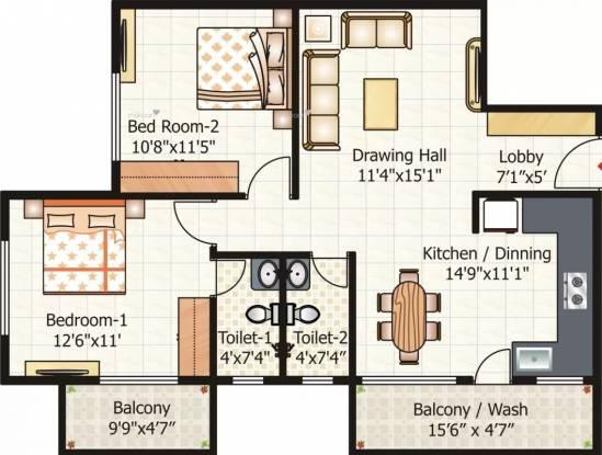 1095 sqft, 2 bhk Apartment in Pyramid City 6  Besa, Nagpur at Rs. 37.6500 Lacs