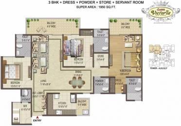 1950 sqft, 3 bhk Apartment in Shree Victoria Sector 70, Gurgaon at Rs. 1.0920 Cr