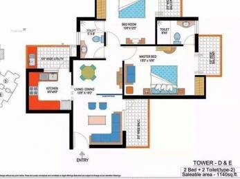 1140 sqft, 2 bhk Apartment in Amrapali Sapphire Sector 45, Noida at Rs. 17000