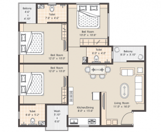 1385 sqft, 3 bhk Apartment in Builder Project Vasana Bhayli Road, Vadodara at Rs. 31.0000 Lacs