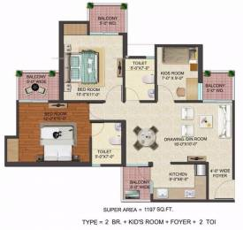 1197 sqft, 2 bhk Apartment in JM Florence Techzone 4, Greater Noida at Rs. 38.7200 Lacs
