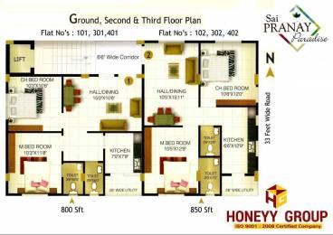 800 sqft, 2 bhk Apartment in Builder Sai Pranay Paradise Kommadi Main Road, Visakhapatnam at Rs. 24.8000 Lacs