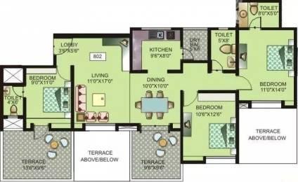 1370 sqft, 3 bhk Apartment in Belvalkar Lorelle Wakad, Pune at Rs. 28000