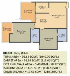 1040 sqft, 2 bhk Apartment in Gaursons Atulyam Omicron, Greater Noida at Rs. 7500