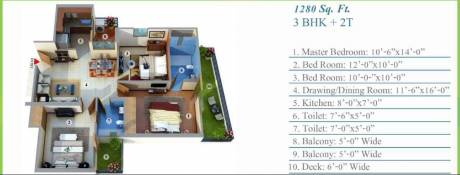 1280 sqft, 3 bhk Apartment in Aadhaar Life Sector 16 Noida Extension, Greater Noida at Rs. 37.1200 Lacs