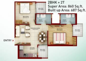 860 sqft, 2 bhk Apartment in SKA Greenarch Techzone 4, Greater Noida at Rs. 30.0000 Lacs