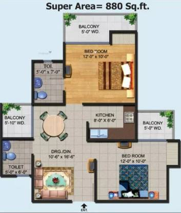 880 sqft, 2 bhk Apartment in Ajnara Homes Sector 16B Noida Extension, Greater Noida at Rs. 8500