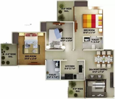 1267 sqft, 3 bhk Apartment in Supertech Eco Village 1 Sector 1 Noida Extension, Greater Noida at Rs. 10500