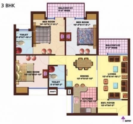 1450 sqft, 3 bhk Apartment in SRS Royal Hills Sector 87, Faridabad at Rs. 50.4000 Lacs
