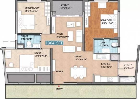 1364 sqft, 2 bhk Apartment in Monarch Aqua KR Puram, Bangalore at Rs. 89.3040 Lacs