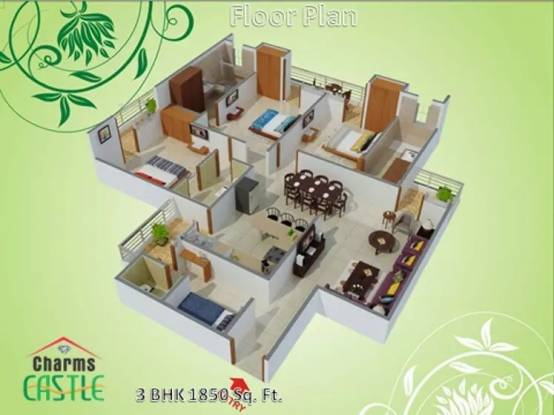 1850 sqft, 3 bhk Apartment in Charms Castle Raj Nagar Extension, Ghaziabad at Rs. 55.1300 Lacs