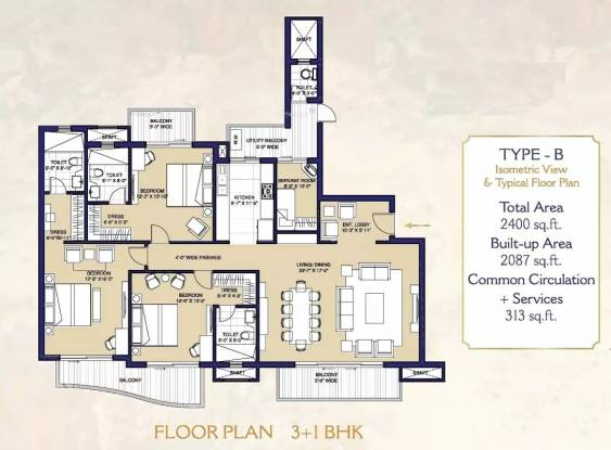 2400 sqft, 3 bhk Apartment in ATS Casa Espana Apartment Sector 121 Mohali, Mohali at Rs. 1.2297 Cr