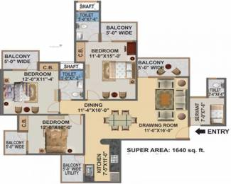 1640 sqft, 3 bhk Apartment in Hawelia Valencia Homes Sector 1 Noida Extension, Greater Noida at Rs. 57.3700 Lacs