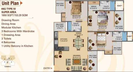 1650 sqft, 3 bhk Apartment in Hawelia Valencia Homes Sector 1 Noida Extension, Greater Noida at Rs. 54.4300 Lacs