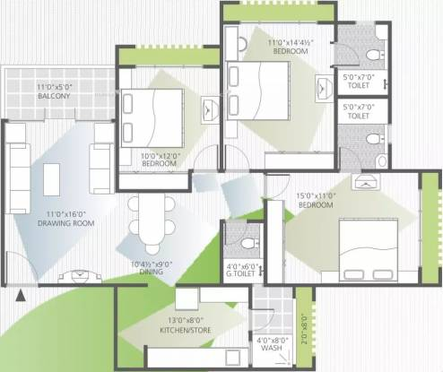 1678 sqft, 3 bhk Apartment in Goyal Orchid Whitefield Makarba, Ahmedabad at Rs. 33000