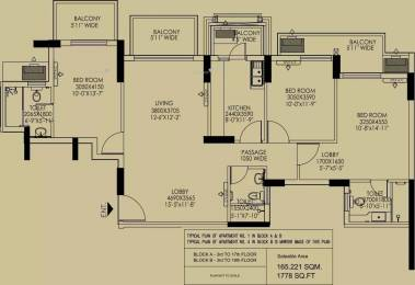1778 sqft, 3 bhk Apartment in DLF Regal Gardens Sector 90, Gurgaon at Rs. 1.1000 Cr