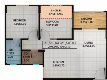 677 sqft, 2 bhk Apartment in Kolte Patil Ivy Estate Nia Wagholi, Pune at Rs. 37.0100 Lacs