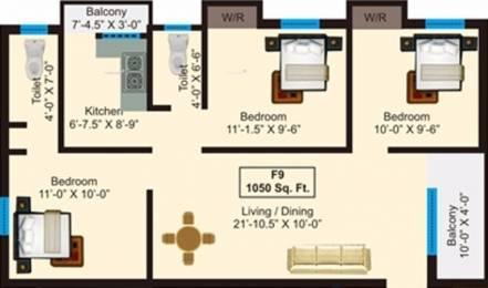 1050 sqft, 3 bhk Apartment in AP Amirthalaya Perambur, Chennai at Rs. 63.0000 Lacs
