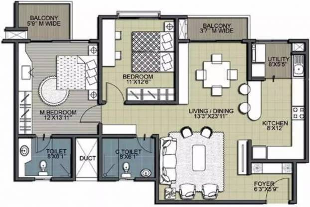 1345 sqft, 2 bhk Apartment in Salarpuria Sattva Greenage Phase II Bommanahalli, Bangalore at Rs. 34000