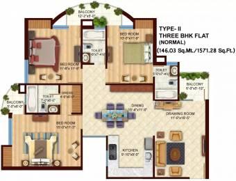 1571 sqft, 3 bhk Apartment in Arsha Sumangalam Vrindavan Yojna, Lucknow at Rs. 65.0000 Lacs