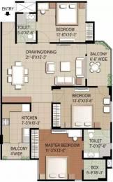 1435 sqft, 3 bhk Apartment in RG Euphoria Vrindavan Yojna, Lucknow at Rs. 14000