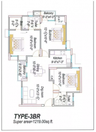 1219 sqft, 3 bhk Apartment in Eldeco Saubhagyam Vrindavan Yojna, Lucknow at Rs. 14000