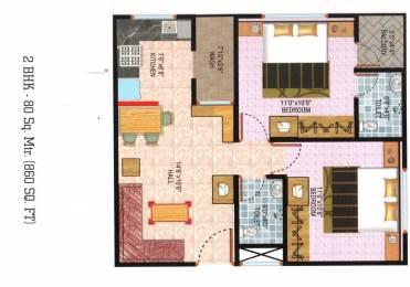 860 sqft, 2 bhk Apartment in Builder shreeji heights Bicholi Mardana Road, Indore at Rs. 18.5000 Lacs