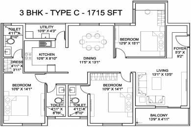 1715 sqft, 3 bhk Apartment in Hiren High Cliff Marathahalli, Bangalore at Rs. 1.1000 Cr