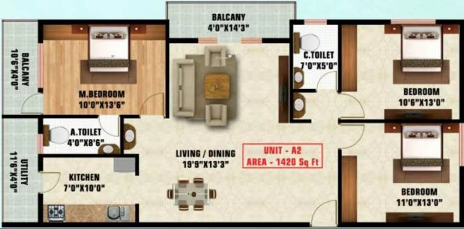 1420 sqft, 3 bhk Apartment in Unitech Blossoms Bellandur, Bangalore at Rs. 72.0000 Lacs