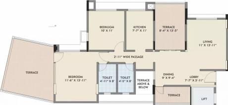 1037 sqft, 2 bhk Apartment in Kalpataru Splendour Wakad, Pune at Rs. 18000