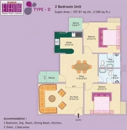 1160 sqft, 2 bhk Apartment in Eldeco Eternia Aliganj, Lucknow at Rs. 53.5000 Lacs